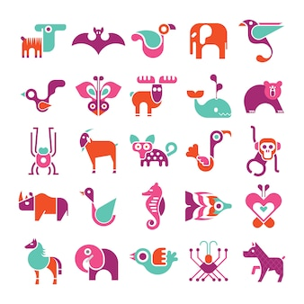 Conjunto de iconos de vector animal