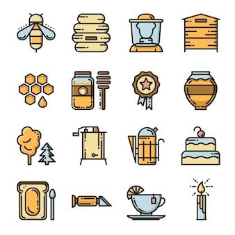 Conjunto de iconos de vector apiario.