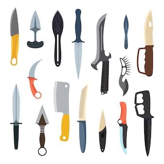 Conjunto de iconos de vector de arma cuchillos.
