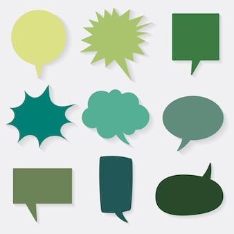 Conjunto de iconos de vector de burbujas de discurso, diseño plano verde