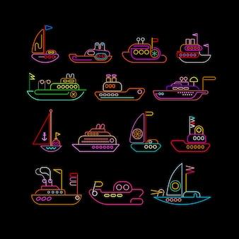 Conjunto de iconos de vector de colores de neón de barco