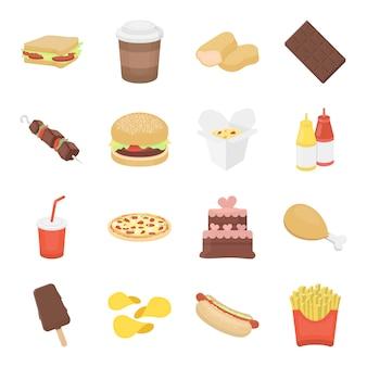 Conjunto de iconos de vector de comida rápida de dibujos animados. ilustración de vector de comida rápida.