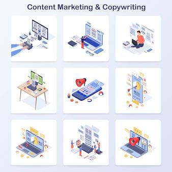 Conjunto de iconos de vector de concepto isométrico de marketing de contenidos y redacción
