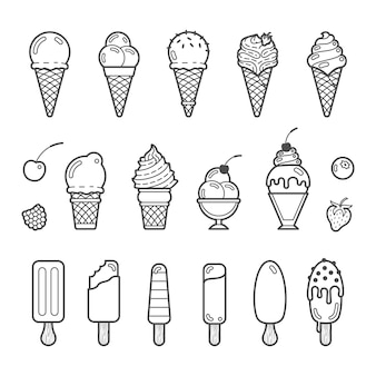 Conjunto de iconos de vector de delicioso helado