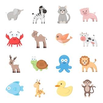 Conjunto de iconos de vector de dibujos animados de animales. ilustración de vector de animal de juguete.