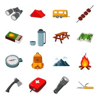 Conjunto de iconos de vector de dibujos animados de camping. ilustración de vector de camping.