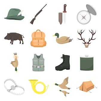 Conjunto de iconos de vector de dibujos animados de caza. ilustración de vector de caza.