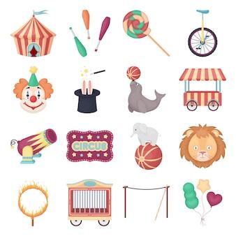 Conjunto de iconos de vector de dibujos animados de circo. ilustración de vector de circo.