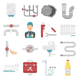 Conjunto de iconos de vector de dibujos animados de fontanero. ilustración de vector de tubería de fontanería.