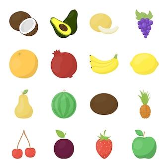 Conjunto de iconos de vector de dibujos animados de frutas. ilustración de vector de fruta de alimentos.