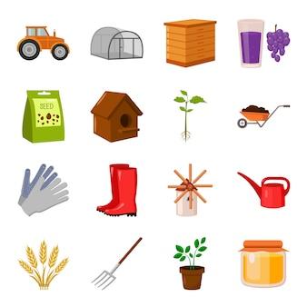 Conjunto de iconos de vector de dibujos animados de granja. ilustración de vector de granja agrícola.
