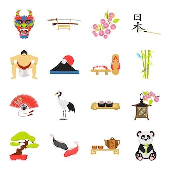 Conjunto de iconos de vector de dibujos animados de japón. ilustración de vector de la cultura asiática y japonesa.