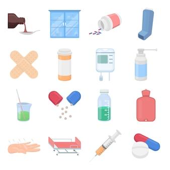 Conjunto de iconos de vector de dibujos animados médicos. ilustración de vector de farmacéutica y médica.