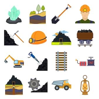 Conjunto de iconos de vector de dibujos animados de mina de carbón. ilustración de vector de mina de carbón.