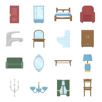 Conjunto de iconos de vector de dibujos animados de muebles. ilustración de vector de muebles de interior.