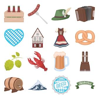 Conjunto de iconos de vector de dibujos animados oktoberfest. ilustración de vector de festival oktoberfest.