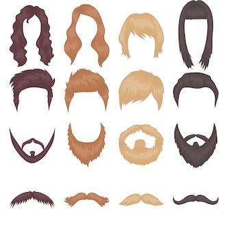 Conjunto de iconos de vector de dibujos animados de peluca de pelo. ilustración vectorial peluca de pelo.