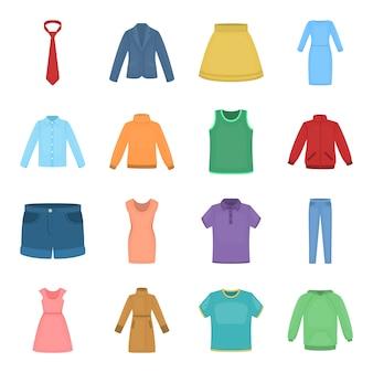 Conjunto de iconos de vector de dibujos animados de ropa. ropa de ilustración vectorial