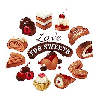 Conjunto de iconos vector dulces