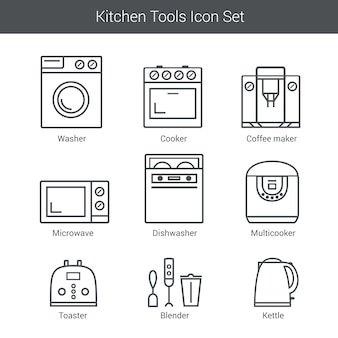 Conjunto de iconos de vector de electrodomésticos: cocina, lavadora, licuadora, tostadora, microondas, hervidor