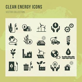 Conjunto de iconos de vector de energía limpia en estilo plano.