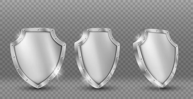 Conjunto de iconos de vector de escudo de acero, munición de caballero de oro