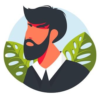Conjunto de iconos de vector de estilo plano. avatar hermoso moderno del hombre. retratos de personas reales dibujadas a mano ilustración de concepto de diseño de vector de estilo plano de hombres, rostros masculinos y avatares de hombros.