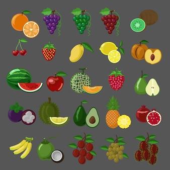 Conjunto de iconos de vector de frutas estilo plano