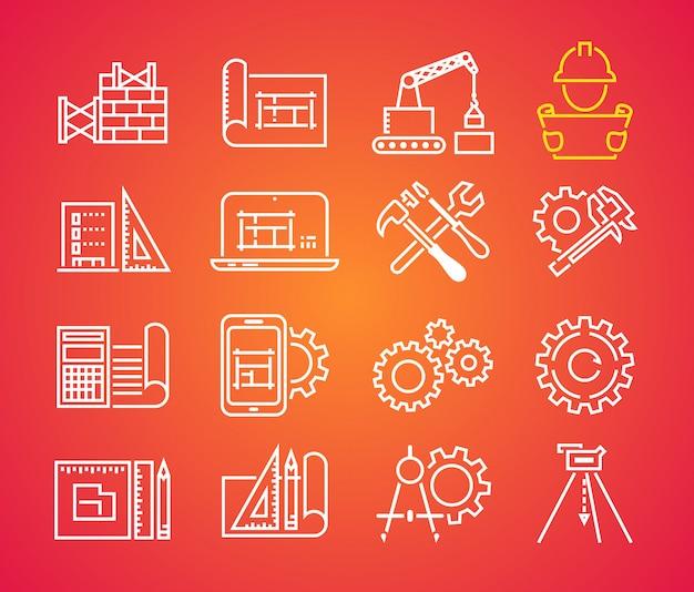 Conjunto de iconos de vector de ingeniería y fabricación