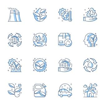 Conjunto de iconos de vector lineal de energía sostenible y renovable.