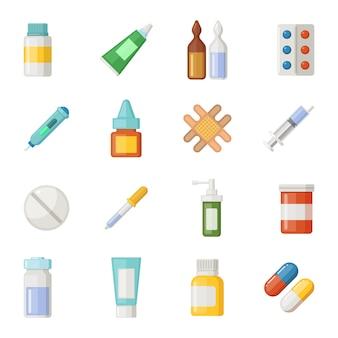 Conjunto de iconos de vector de medicamentos