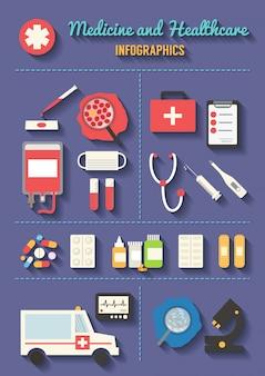 Conjunto de iconos de vector médico. elementos de infografía sanitaria.