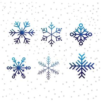 Conjunto de iconos de vector de nieve de navidad