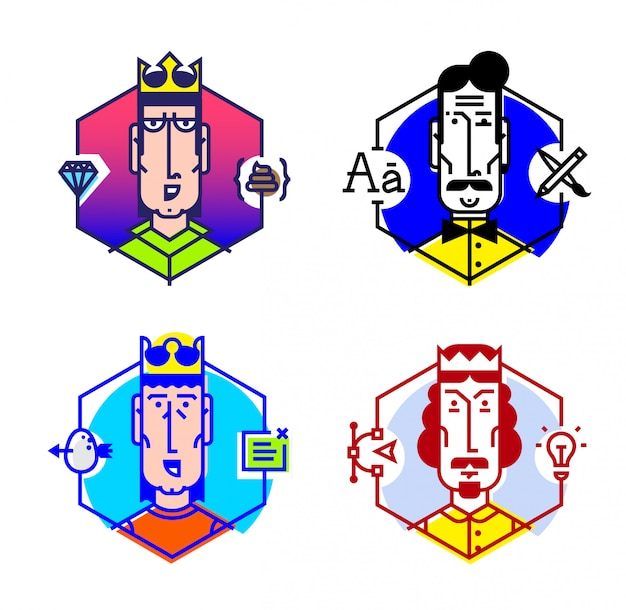 Conjunto de iconos de vector de personas de diferentes profesiones.