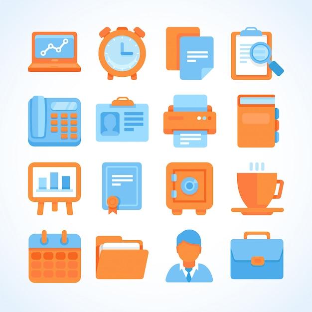 Conjunto de iconos de vector plano oficina y negocios símbolos
