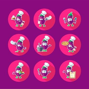 Conjunto de iconos de vector plano redondo