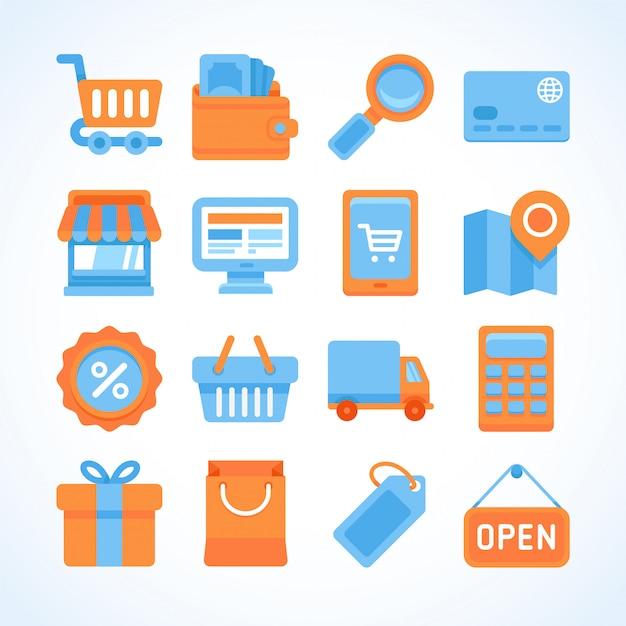 Conjunto de iconos de vector plano de símbolos de compras