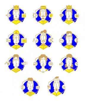 Conjunto de iconos de vector de las profesiones de las personas.