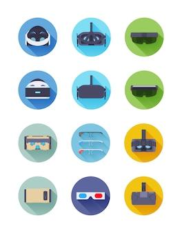 Conjunto de iconos de vector de realidad virtual y aumentada
