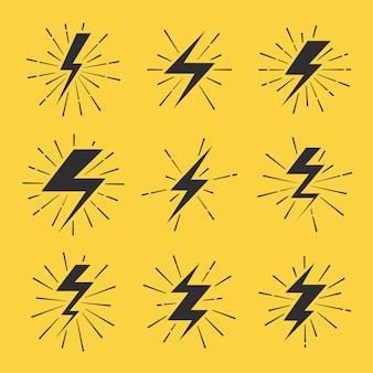 Conjunto de iconos de vector de relámpagos