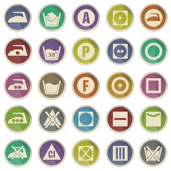 Conjunto de iconos de vector de silueta de signo de lavandería