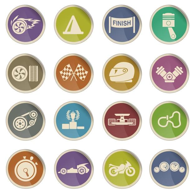 Conjunto de iconos de vector simple de carreras