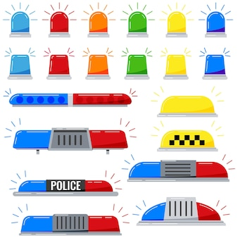 Conjunto de iconos de vector de sirena intermitentes aislado sobre fondo blanco