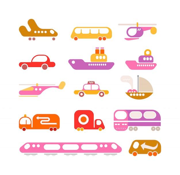 Conjunto de iconos de vector de transporte