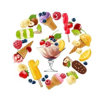 Conjunto de iconos de vectores de helado
