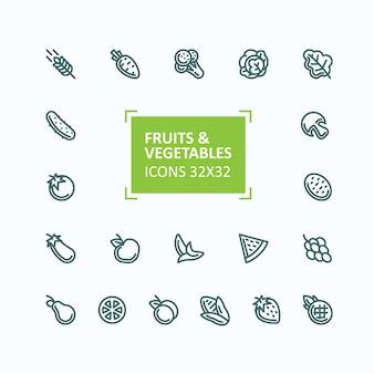 Conjunto de iconos vectoriales de frutas y verduras en el estilo de una línea delgada, editable stroke