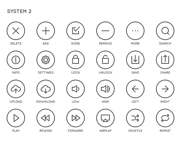 Conjunto de iconos vectoriales de interfaz de usuario del sistema (ui). iconos alineados mínimos de alta calidad para todos los propósitos.