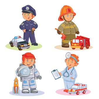 Conjunto de iconos vectoriales de los niños pequeños diferentes profesiones