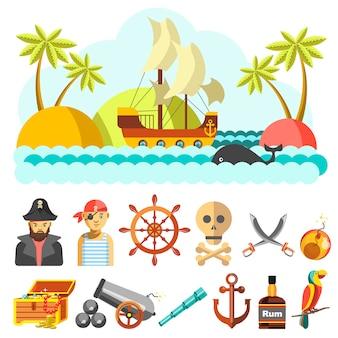 Conjunto de iconos vectoriales piratas