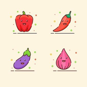 Conjunto de iconos vegetales colección pimentón chile berenjena cebolla linda mascota cara emoción feliz con color